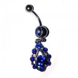 Hängande navel smycke blå stenar -1.6mm