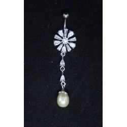Navel smycke med pärl hänge