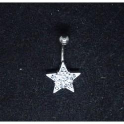 Navelsmycke med stenprydd stjärna